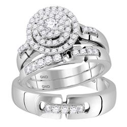 1 CTW His & Hers Round Diamond Solitaire Matching Bridal Wedding Ring 14kt White Gold - REF-137N9Y
