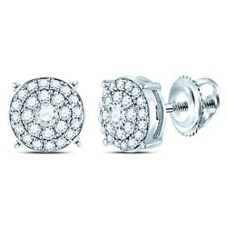 1/4 CTW Round Diamond Concentric Circle Cluster Earrings 14kt White Gold - REF-24R3H