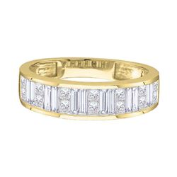 1/4 CTW Princess Baguette Diamond Wedding Ring 14kt Yellow Gold - REF-30M3A