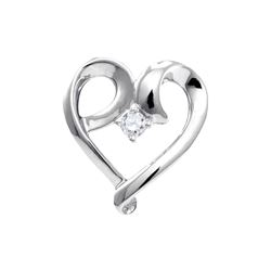 1/20 CTW Round Diamond Solitaire Heart Pendant 10kt White Gold - REF-8X4T