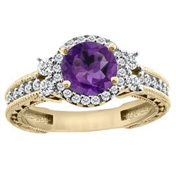 1.46 CTW Amethyst & Diamond Ring 14K Yellow Gold - REF-77F4N