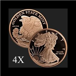 2 oz Walking Liberty .999 Fine Copper Bullion Round