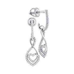 1/4 CTW Round Diamond Heart Dangle Earrings 10kt White Gold - REF-15Y5X