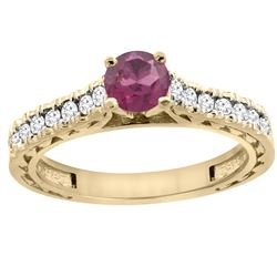 0.90 CTW Rhodolite & Diamond Ring 14K Yellow Gold - REF-62M6K