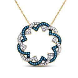 1/3 CTW Round Blue Color Enhanced Diamond Circle Pendant 10kt Yellow Gold - REF-18A3N