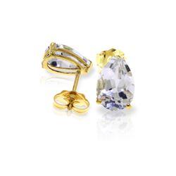 Genuine 3.15 ctw White Topaz Earrings 14KT Yellow Gold - REF-21N2R