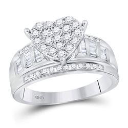 1 CTW Round Diamond Heart Cluster Bridal Wedding Engagement Ring 10kt White Gold - REF-60Y3X