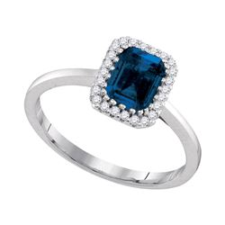 1 & 1/5 CTW Blue Sapphire Solitaire Diamond Ring 14kt White Gold - REF-77N9Y