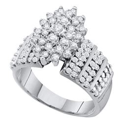 1 CTW Round Prong-set Diamond Oval Cluster Accented-side Ring 10kt White Gold - REF-47K9R