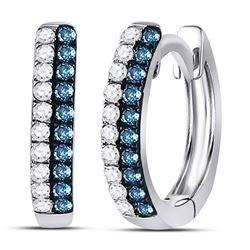 1/5 CTW Round Blue Color Enhanced Diamond Huggie Earrings 10kt White Gold - REF-10H8W
