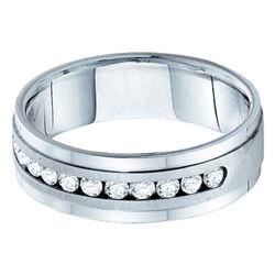 1 CTW Mens Machine Set Round Diamond Wedding Ring 14kt White Gold - REF-156N3Y