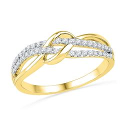 1/5 CTW Round Diamond Crossover Ring 10kt Yellow Gold - REF-15N5Y