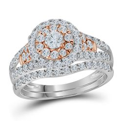 1 & 1/4 CTW Round Diamond Bridal Wedding Engagement Ring 14kt Two-tone Gold - REF-90X3T