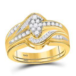 1/2 CTW Round Diamond Cluster Bridal Wedding Engagement Ring 14kt Yellow Gold - REF-57W3F