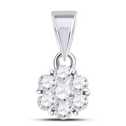 1/2 CTW Round Diamond Flower Cluster Pendant 14kt White Gold - REF-33K3R