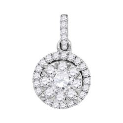7/8 CTW Round Diamond Frame Flower Cluster Pendant 14kt White Gold - REF-107F9M