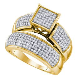 5/8 CTW Diamond Cluster Bridal Wedding Engagement Ring 10kt Yellow Gold - REF-60W3F