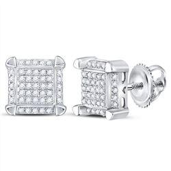 1/6 CTW Mens Round Diamond Square Cluster Stud Earrings 10kt White Gold - REF-15F5M