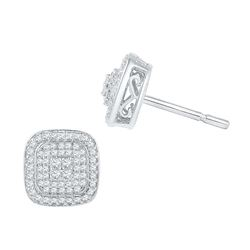5/8 CTW Round Diamond Cluster Square Screwback Earrings 10kt White Gold - REF-35H9W