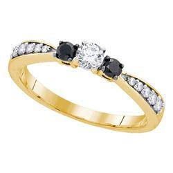 3/8 CTW Round Diamond 3-stone Tapered Bridal Wedding Engagement Ring 10kt Yellow Gold - REF-22R8H