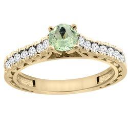 0.72 CTW Amethyst & Diamond Ring 14K Yellow Gold - REF-62F3N