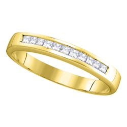 1/4 CTW Princess Channel-set Diamond Single Row Wedding Ring 14kt Yellow Gold - REF-28W8F