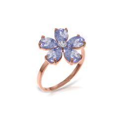 Genuine 2.22 ctw Tanzanite & Diamond Ring 14KT Rose Gold - REF-52R3P