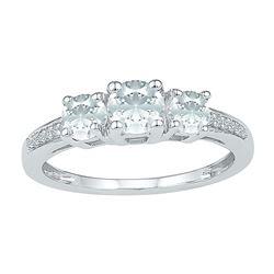1 & 3/8 CTW Round Lab-Created White Sapphire 3-stone Ring 10kt White Gold - REF-15X5T