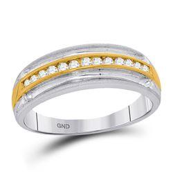 1/4 CTW Mens Round Diamond Wedding Anniversary Ring 10kt Two-tone White Gold - REF-26F3M
