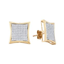 1/2 CTW Round Diamond Square Kite Cluster Earrings 10kt White Gold - REF-35Y9X