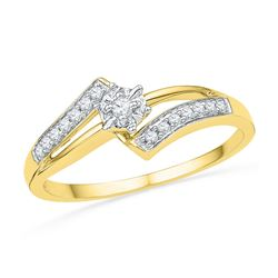 1/10 CTW Round Diamond Solitaire Bridal Wedding Engagement Ring 10kt Yellow Gold - REF-14T4K