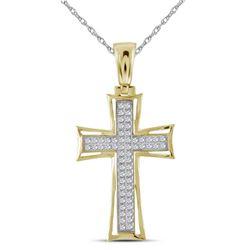 1/6 CTW Mens Round Diamond Gothic Cross Charm Pendant 10kt Yellow Gold - REF-30A3N