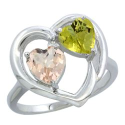 1.91 CTW Diamond, Morganite & Lemon Quartz Ring 10K White Gold - REF-26K2W