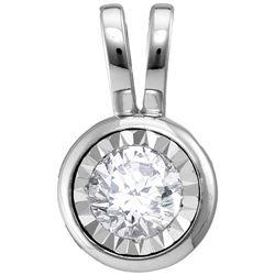 1/4 CTW Round Diamond Solitaire Pendant 10kt White Gold - REF-26W9F