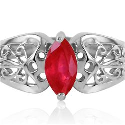 Genuine 0.20 CTW Ruby Ring 14KT White Gold - REF-48F4Z
