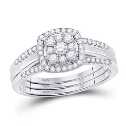 1/2 CTW Round Diamond 3-Piece Bridal Wedding Ring 10kt White Gold - REF-45A5N
