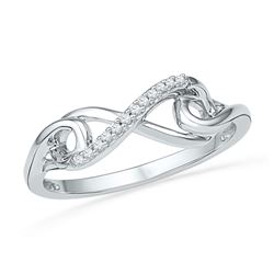 1/20 CTW Round Diamond Infinity Knot Ring 10kt White Gold - REF-10K8R