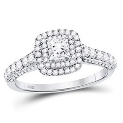 1 CTW Princess Diamond Solitaire Bridal Wedding Engagement Ring 14kt White Gold - REF-101K9R