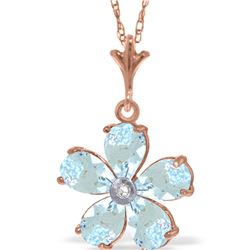 Genuine 2.22 ctw Aquamarine & Diamond Necklace 14KT Rose Gold - REF-36H3X