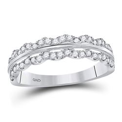 1/2 CTW Round Diamond Contoured Symmetrical Ring 14kt White Gold - REF-33T6K