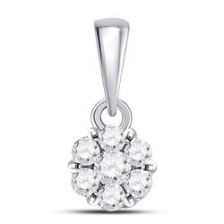 1/4 CTW Round Diamond Flower Cluster Pendant 14kt White Gold - REF-15A3N