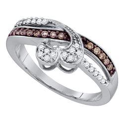 1/4 CTW Round Brown Diamond Heart Ring 10kt White Gold - REF-21K5R