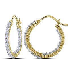 1 CTW Round Diamond Inside Outside Hoop Earrings 10kt Yellow Gold - REF-63Y5X