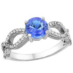 1.09 CTW Tanzanite & Diamond Ring 14K White Gold - REF-56V7R