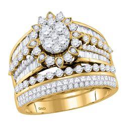 2 CTW Round Diamond Cluster Bridal Wedding Engagement Ring 14kt Yellow Gold - REF-147W6F