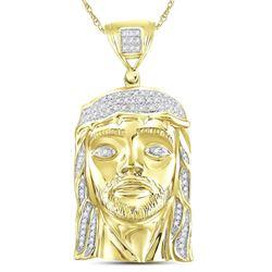 1/4 CTW Mens Round Diamond Jesus Face Charm Pendant 10kt Yellow Gold - REF-47W9F