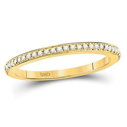1/8 CTW Round Diamond Anniversary Stackable Ring 10kt Yellow Gold - REF-14R4H