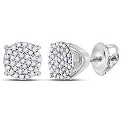 1/4 CTW Round Diamond Circle Cluster Stud Earrings 10kt White Gold - REF-15H5W