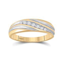 1/6 CTW Mens Round Diamond Wedding Ring 10kt Two-tone Gold - REF-19Y2X