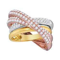 1 & 1/4 CTW Round Diamond Fashion Crossover Ring 14kt Tri-Tone Gold - REF-162M3A